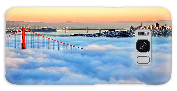 Golden Gate Bridge In Fog At Sunset Galaxy Case