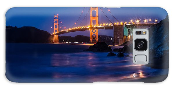 Golden Gate Glow Galaxy Case by Linda Villers