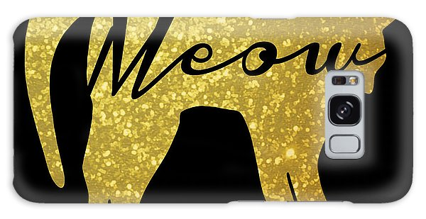 Cat Galaxy S8 Case - Golden Glitter Cat - Meow by Pati Photography