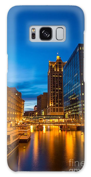 Golden Hour Milwaukee River Galaxy Case