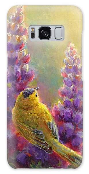 Golden Light 1 Wilsons Warbler And Lupine Galaxy Case