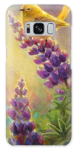 Golden Light 2 Wilsons Warbler And Lupine Galaxy Case