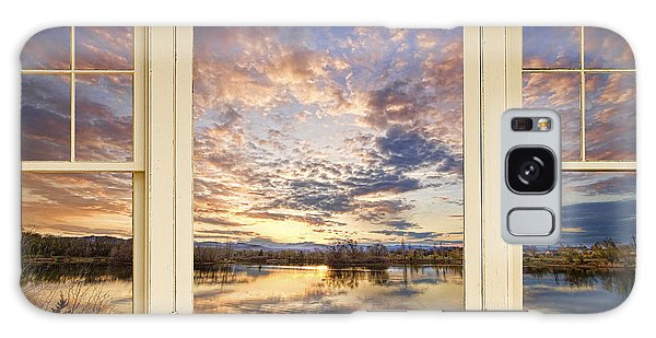 Golden Ponds Scenic Sunset Reflections 4 Yellow Window View Galaxy Case