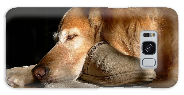 Golden Retriever Dog With Master's Slipper Galaxy Case by Jennie Marie Schell