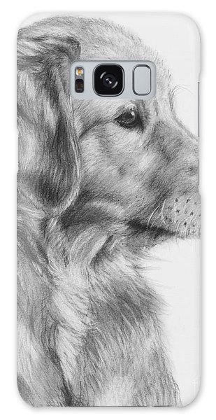 Golden Retriever Puppy In Charcoal One Galaxy Case by Kate Sumners