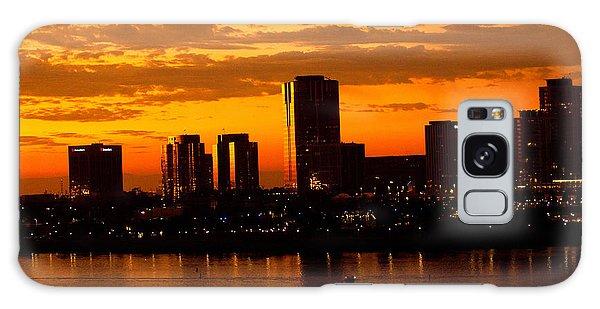 Golden Skys Cloak The Long Beach Skyline Galaxy Case