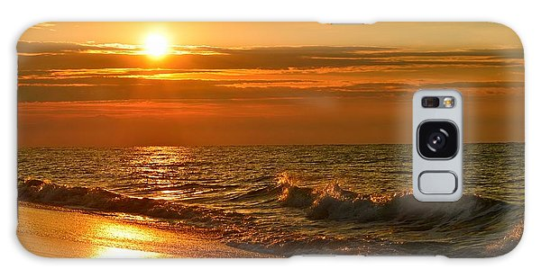 Golden Sunrise Colors With Waves And Horizon Clouds On Navarre Beach Galaxy Case