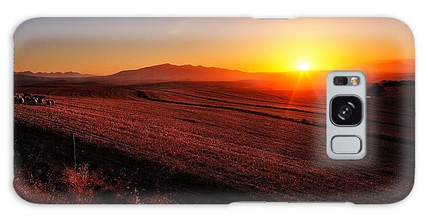 Farmland Galaxy Case - Golden Sunrise Over Farmland by Johan Swanepoel