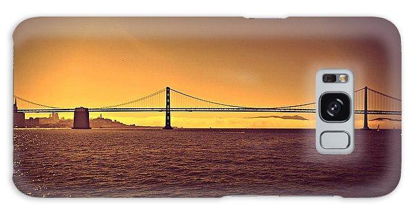 Golden Sunset Bridge Galaxy Case