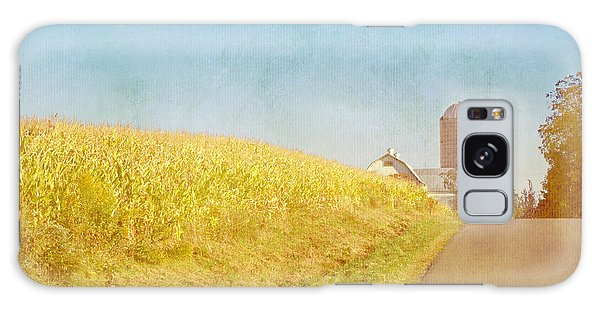 Golden Yellow Cornfield And Barn With Blue Sky Galaxy Case