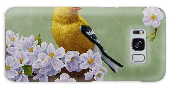 Song Bird Galaxy Case - Goldfinch Blossoms Greeting Card 3 by Crista Forest