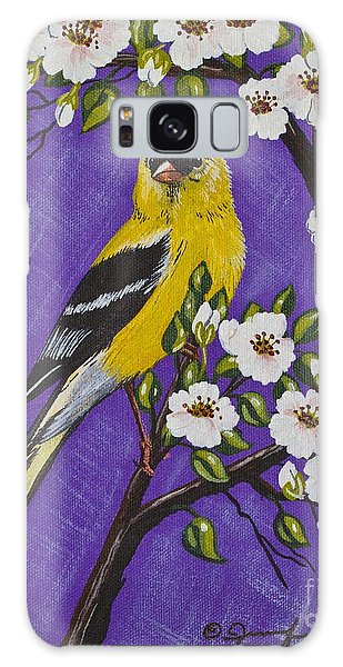 Goldfinch In Pear Blossoms Galaxy Case