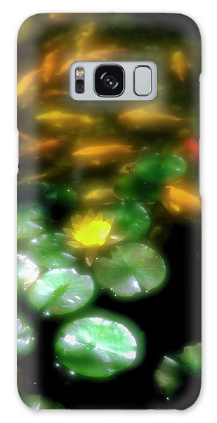 Sea Lily Galaxy Case - Goldfish Swimming By Lily Pads In Pond by Panoramic Images