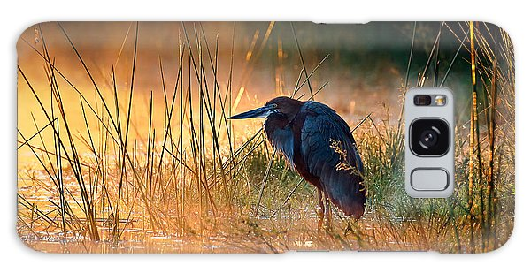 Horizontal Galaxy Case - Goliath Heron With Sunrise Over Misty River by Johan Swanepoel