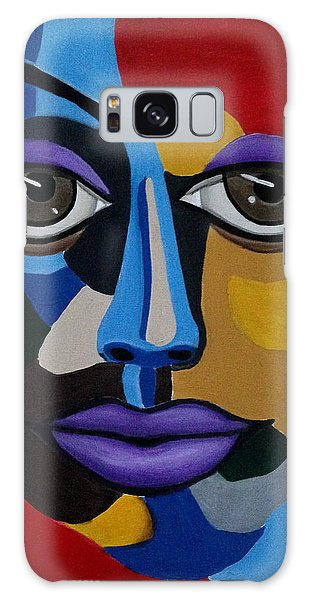 Colorful Illusion Abstract Face Art Painting, Big Brown Eye Art, Optical Artwork Galaxy Case