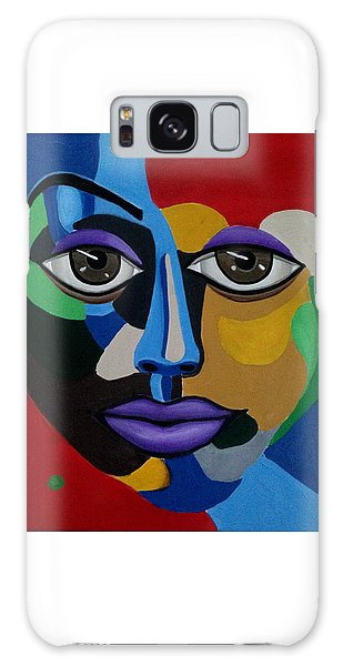 Colorful Abstract Face Art Painting, 3d Illusion, Big Brown Eyes, Purple Lips Galaxy Case