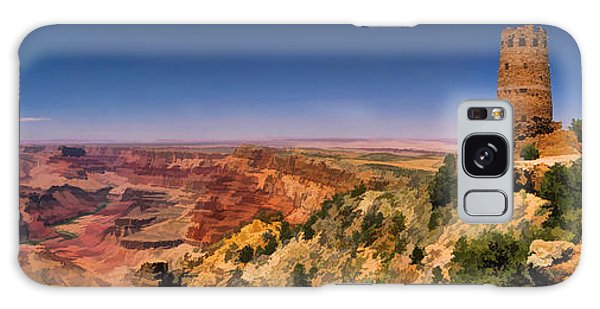 Desert View Tower Galaxy Case - Grand Canyon Desert View Watchtower Panorama by Christopher Arndt