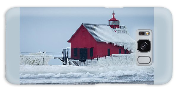 Grand Haven Lighthouse Encased In Ice Galaxy Case