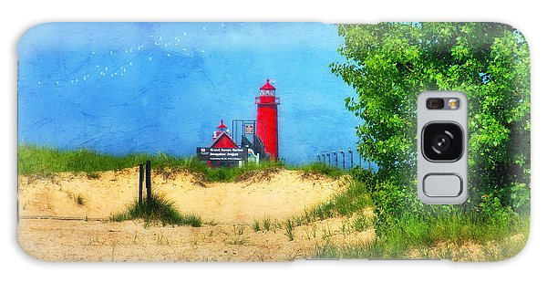 Grand Haven Lighthouse Galaxy Case by Joan Bertucci