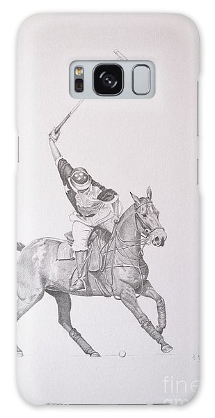 Graphite Drawing - Shooting For The Polo Goal Galaxy Case