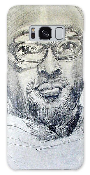 Graphite Portrait Sketch Of A Young Man With Glasses Galaxy Case
