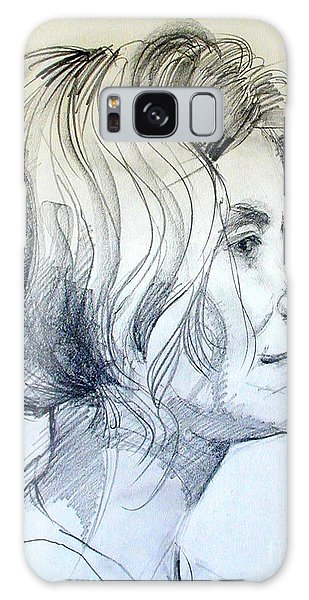 Portrait Drawing Of A Woman In Profile Galaxy Case