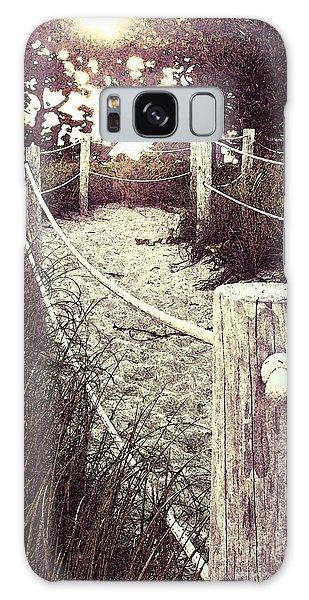 Grassy Beach Post Entrance At Sunset Galaxy Case