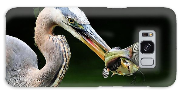 Great Blue Heron And The Catfish Galaxy Case by Kathy Baccari