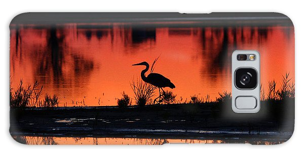Great Blue Heron At Sunrise Galaxy Case by Allan Levin