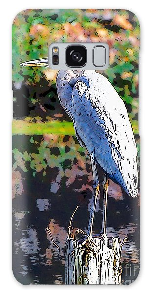 Great Blue Heron At The Pond Galaxy Case