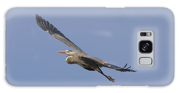 Great Blue Heron In Flight-2 Galaxy Case by Thomas Young