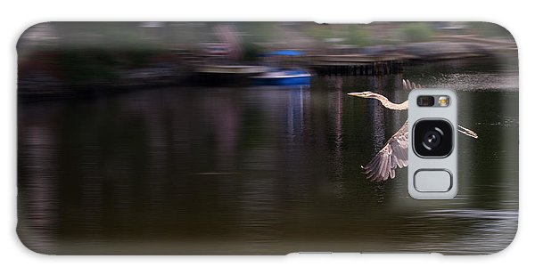 Great Blue Heron In Flight Galaxy Case