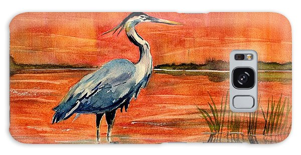 Great Blue Heron In Marsh Galaxy Case