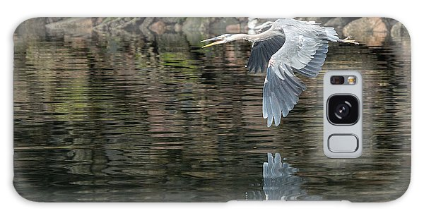 Great Blue Heron Reflections Galaxy Case
