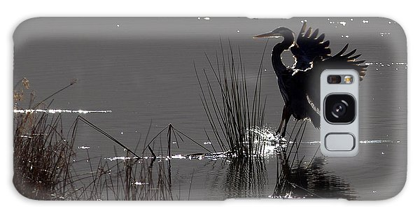 Great Blue Heron Silhouette Galaxy Case