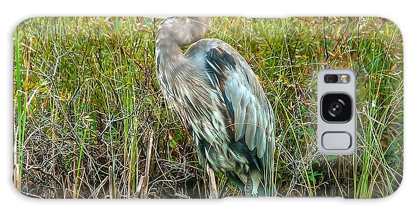 Great Blue Heron Waiting For Supper Galaxy Case by Eti Reid