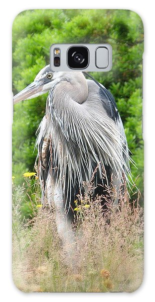 Great Blue Heron Watching And Waiting Galaxy Case