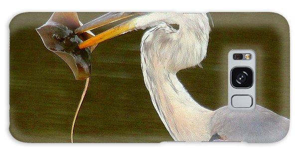 Great Blue Heron With Stingray Galaxy Case by Myrna Bradshaw