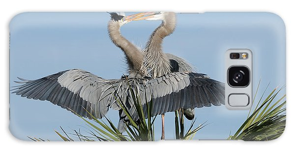 Great Blue Herons Courting Galaxy Case
