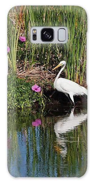 Hunting Island Galaxy Case - Great Egret (ardea Alba by Larry Ditto