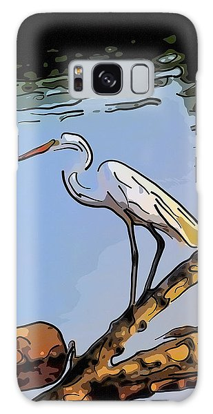 Great Egret Fishing Abstract Galaxy Case