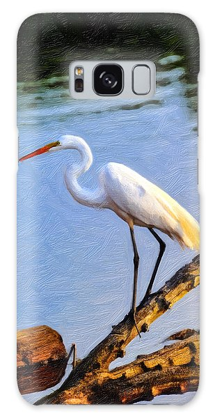 Great Egret Fishing Oil Painting Galaxy Case