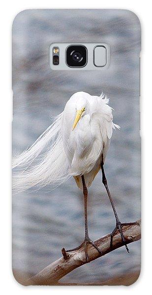 Great Egret Windy Portrait Galaxy Case