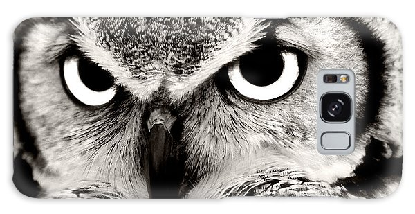 Great Horned Owl In Black And White Galaxy Case
