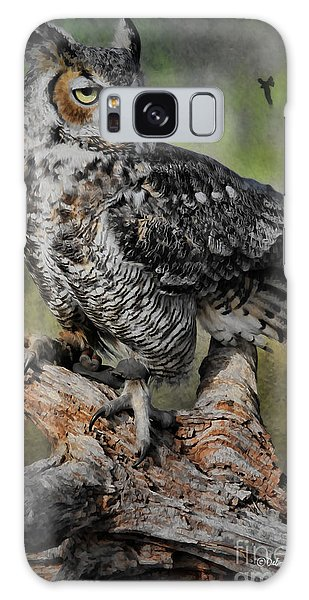 Great Horned Owl On Branch Galaxy Case by Deborah Benoit