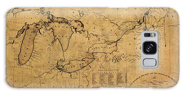 Great Lakes Galaxy Case - Great Lakes And Canada Vintage Map On Worn Canvas Circa 1812 by Design Turnpike