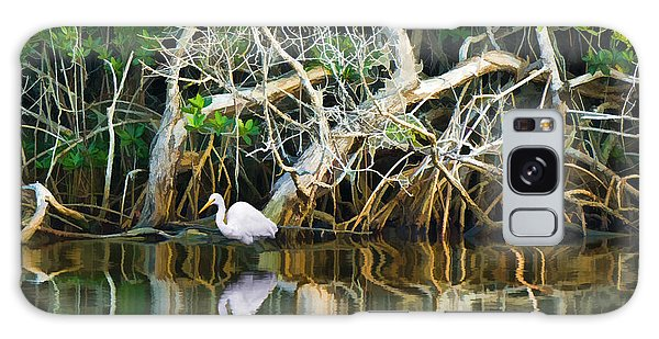 Great White Egret And Reflection In Swamp Mangroves Galaxy Case