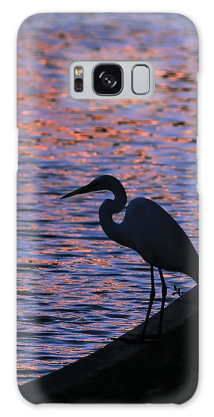 Great White Egret Silhouette  Galaxy Case