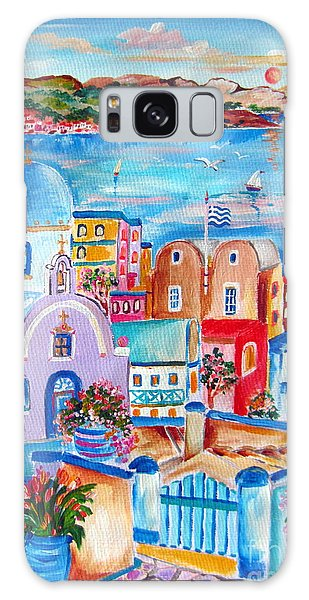Greek Flag In Santorini Galaxy Case by Roberto Gagliardi