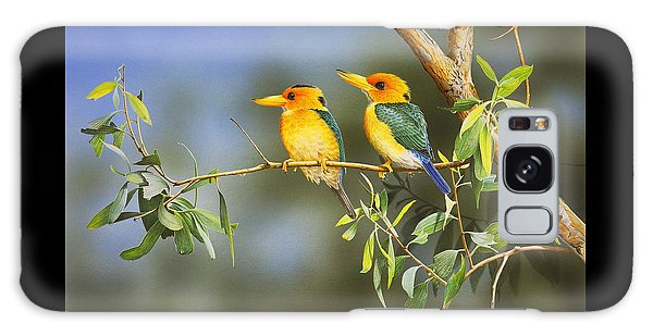Green And Gold - Yellow-billed Kingfishers Galaxy Case by Frances McMahon